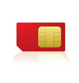Red mobile phone sim with reflection in white back vector