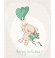 Greeting birthday card with cute bear vector