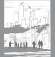 Silhouettes of people on city background with vector