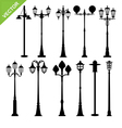 Retro street lamps silhouettes vector