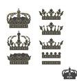 Grey crowns set vector