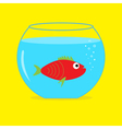 Red fish in the aquarium card vector