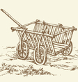 Wooden empty cart vector
