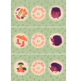 Set of autumn cards with hedgehogs vector