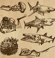 Underwater sea life set no2 - hand drawn vector