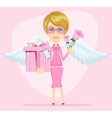 Girl in pink gives flowers and gift vector