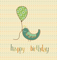 Greeting birthday card with cute bird holding ball vector