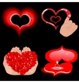 Heart icons on the black vector