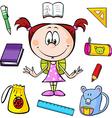 A girl with school supplies vector