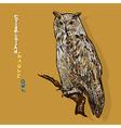 Siberian eagle owl or bubo bubo sibiricus vector