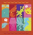 Print with cartoon sea animals characters vector