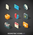 Flat isometric icons set 7 vector