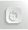 Stopwatch icon - white app button vector