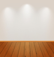 Empty wall with light and wooden floor vector