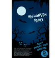 Halloween party flyer template - blue and black vector