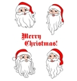 Smiling santa claus heads vector