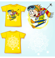 Kid shirt with skier printed - back and front view vector