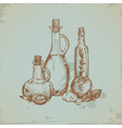 Hand drawn olive oil in glass bottles still life vector