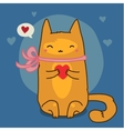 Cute red cat on blue vector