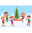 Children celebrate christmas and new year vector