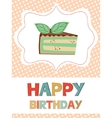 Birthday card with peace of cake vector