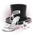 Romantic white wedding shoe vector