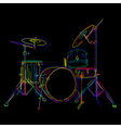 Stylized drum kit graphic over black vector
