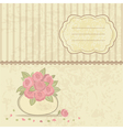 Vintage background with basket of roses vector