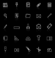 Stationery line icons with reflect on black vector
