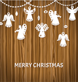 Merry christmas greeting card - angels vector