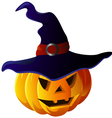 Scary halloween pumpkin in witch hat vector