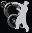 Man dancing and speaker vector