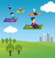 Business people flying on money vector