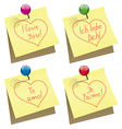 Paper notes with i love you words vector