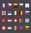 Europe flag icon set metro style vector