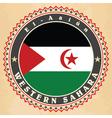 Vintage label cards of western sahara flag vector