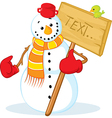 Snowman with red gloves vector