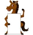 Horse cartoon with blank sign vector