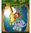 Three playful animals in the forest under the vector