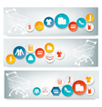Three shopping banners with colorful icons vector
