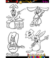 Rabbits musicians set cartoon coloring book vector