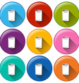 Buttons with canned drinks vector
