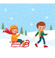 Children winter sledding vector