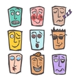 Sketch emoticons colored set vector