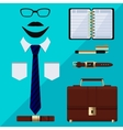 Flat business collection dress businessman tools vector