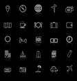 Travel line icons with reflect on black background vector