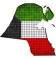 Kuwait map with flag inside vector