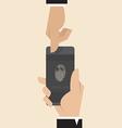 Smart phone with finger print scanner app vector