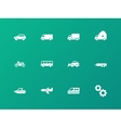 Cars and transport icons on green background vector