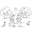 Girl and boy walking vector